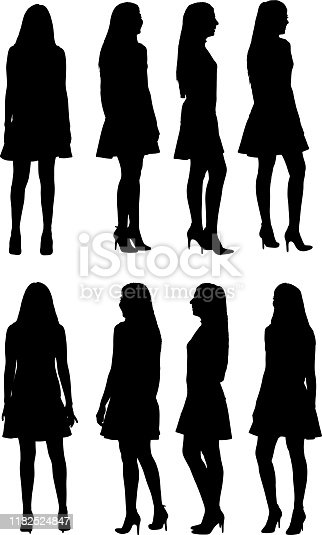360 degree view of silhouette of woman