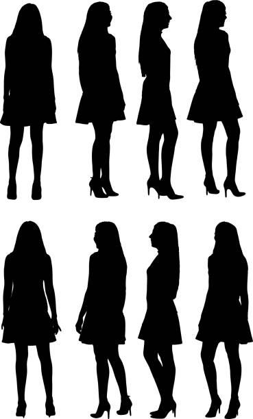 360-Grad-Ansicht der Silhouette der Frau – Vektorgrafik