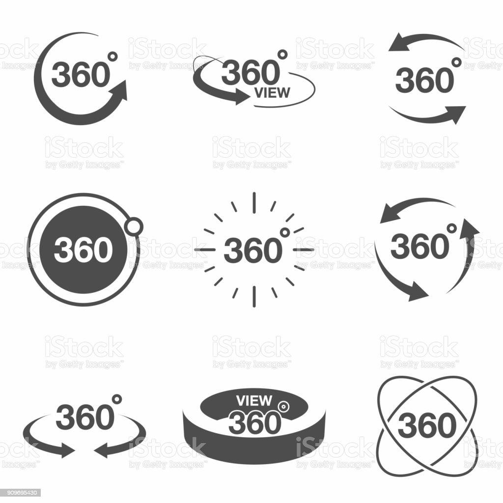 360-Grad Ansicht zugehörige Symbol gesetzt. Schilder und Pfeile für geben Sie die Drehung und Panorama, VR Technologie Symbole – Vektorgrafik