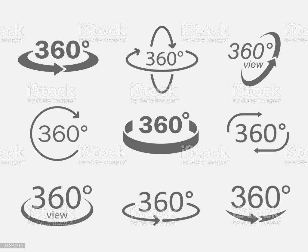 360-Grad-Ansichten Symbole – Vektorgrafik
