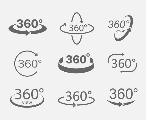 360 degree views icons - панорамный stock illustrations
