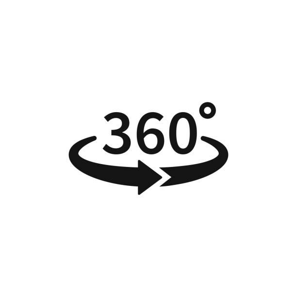 從背景中分離的向量圓圈圖示的360度視圖。箭頭指示旋轉或全景到360度的符號。在白色背景上隔離的向量插圖。 - 全景 幅插畫檔、美工圖案、卡通及圖標