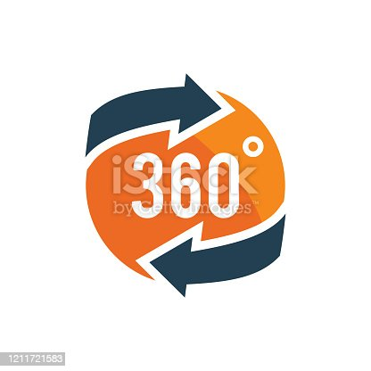 360 degree views of vector circle icons isolated from the background. Signs with arrows to indicate the rotation or panorama to 360 degrees. Vector illustration.