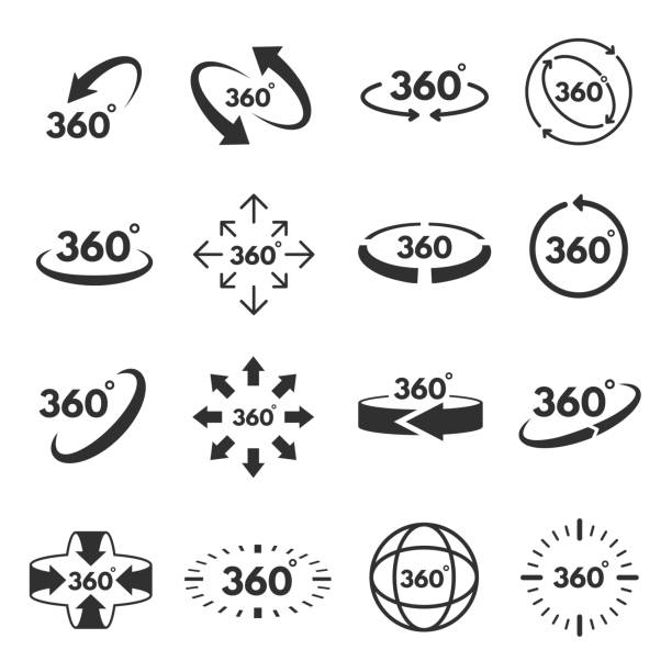 ilustraciones, imágenes clip art, dibujos animados e iconos de stock de vistas de 360 grados - 360