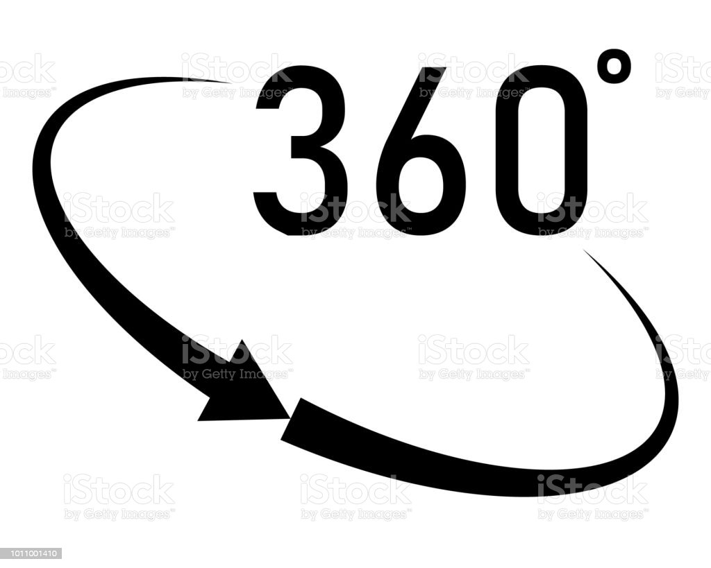 360 Degrees Angle Icon In Trendy Flat Style On White Background