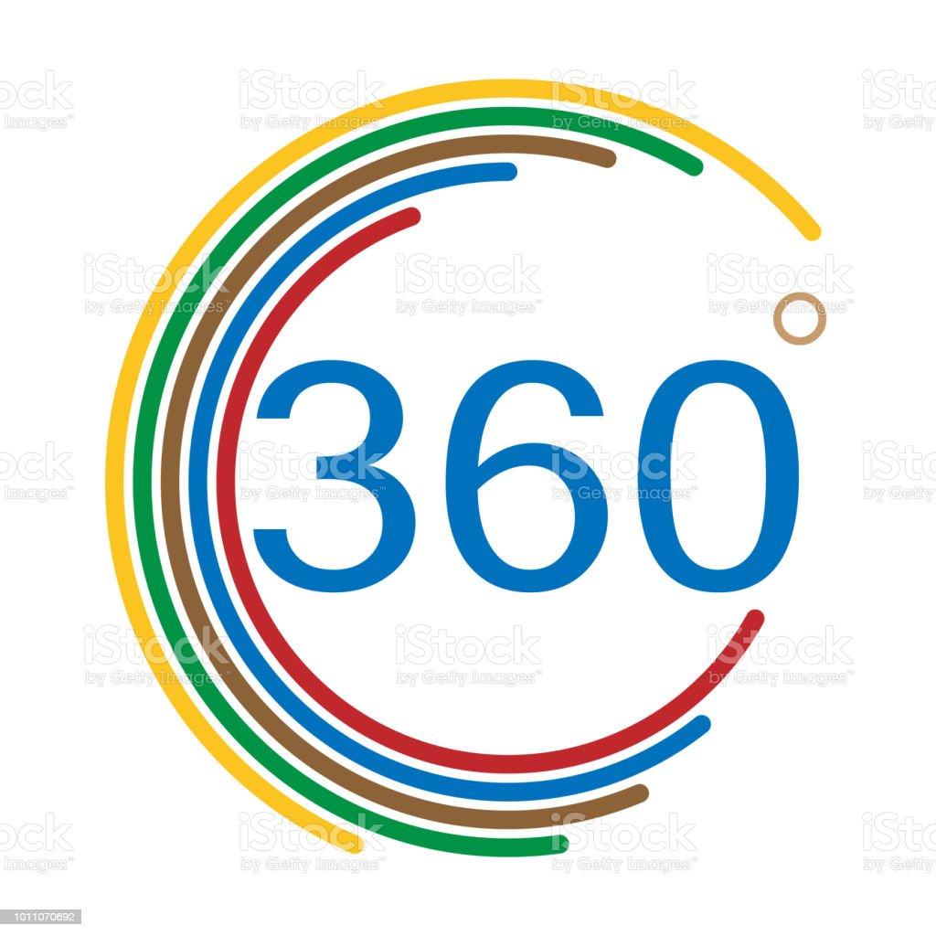 360 grad winkel zeichen auf weißem hintergrund flachen stil angle