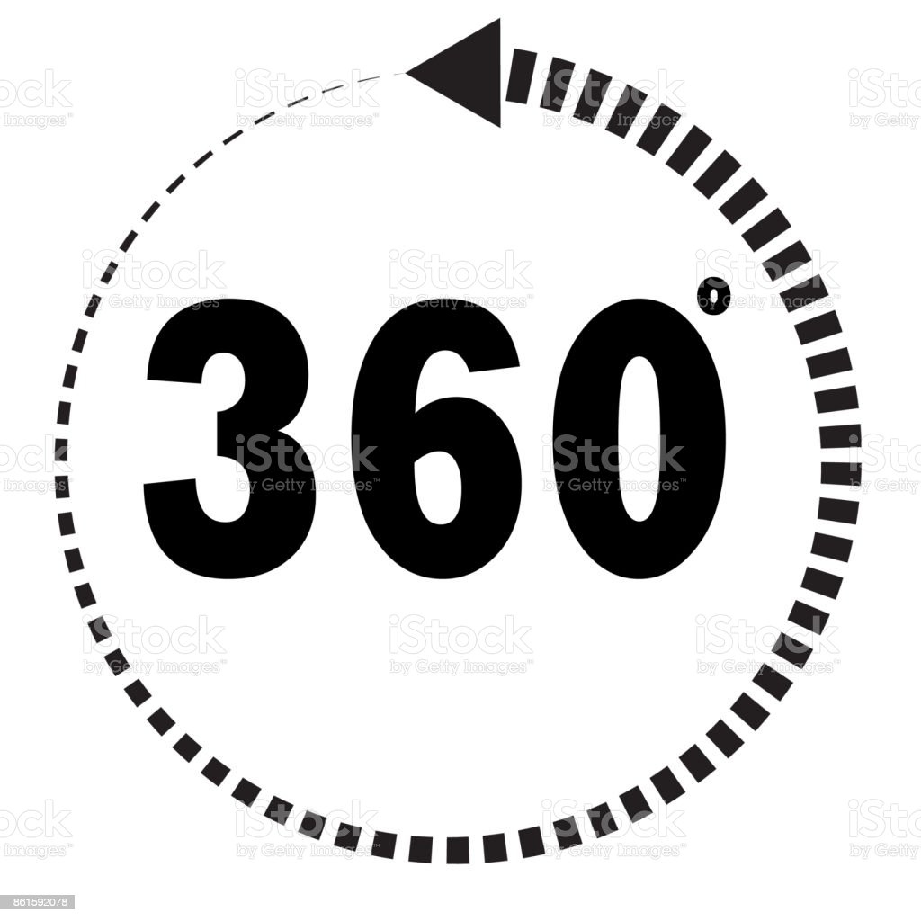 360 degrees icon on white background. flat style. 360 degrees sign. vector art illustration