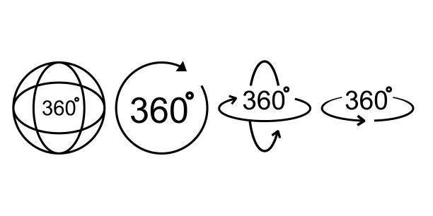 ilustraciones, imágenes clip art, dibujos animados e iconos de stock de icono de línea de 360 grados. símbolo de rotación aislado en fondo blanco. - 360