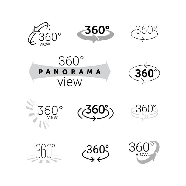 360 degrees rotating virtual reality vr view icon - panorama stock-grafiken, -clipart, -cartoons und -symbole