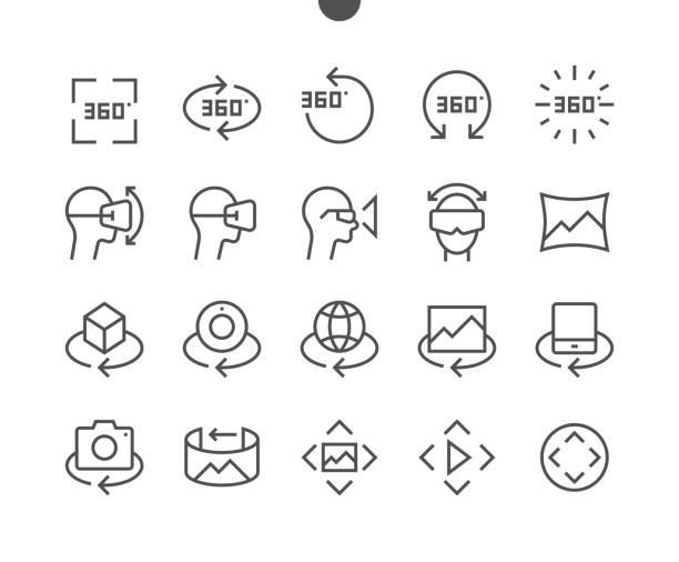 360 Grad UI Pixel perfekt gut gemachte Vektor Gratwanderung-Icons 48 x 48 bereit für 24 x 24 Raster für Web-Grafiken und Apps mit editierbaren Schlaganfall. Einfach nur minimale Piktogramm – Vektorgrafik