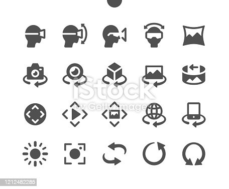 istock 360 degrees v2 UI Pixel Perfect Well-crafted Vector Solid Icons 48x48 Ready for 24x24 Grid for Web Graphics and Apps. Simple Minimal Pictogram 1212482285