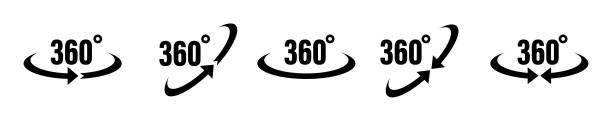 ilustraciones, imágenes clip art, dibujos animados e iconos de stock de icono vectorial de 360 grados. señales redondas con flechas de rotación a 360 grados. - 360