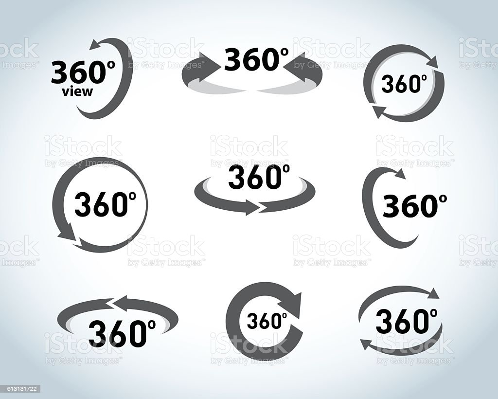 360 Degrees View flat Vector Icons. vector art illustration
