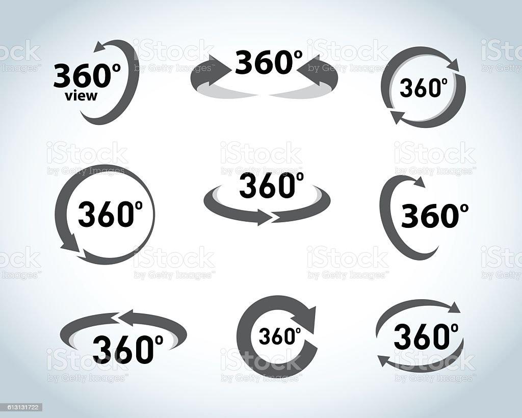 360 Degrees View flat Vector Icons. – Vektorgrafik