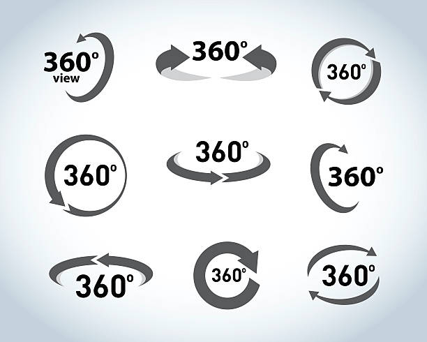 360 degrees view flat vector icons. - panorama stock-grafiken, -clipart, -cartoons und -symbole