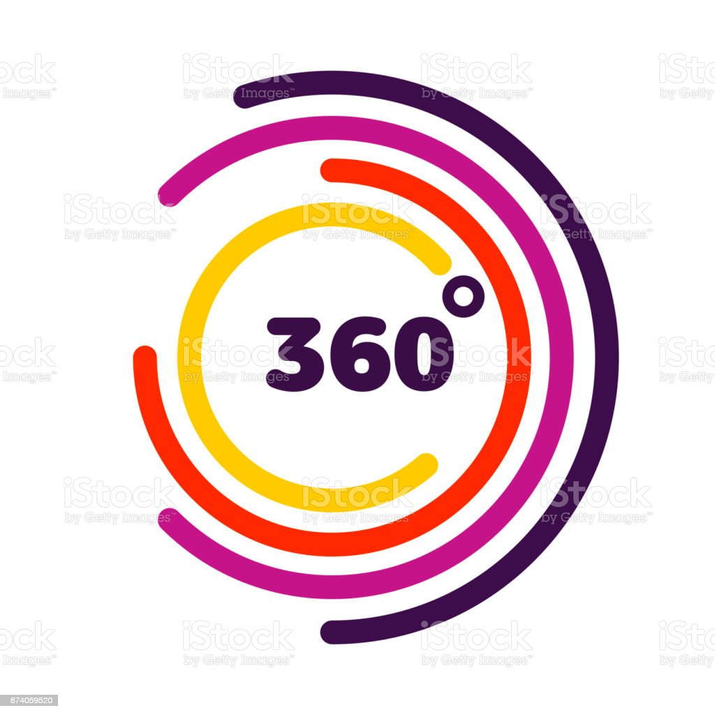 360 degrees view Related Vector graphic element that can be used as a emblem or icon for your Design. Modern style with colorful circle lines