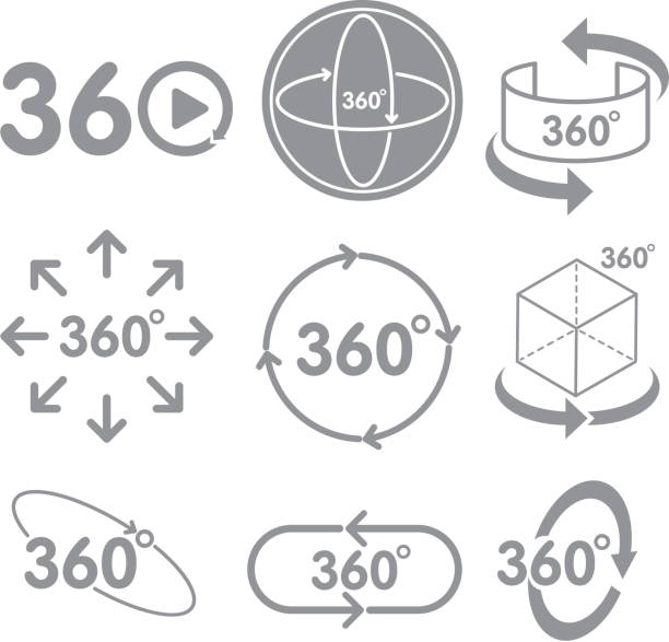 360 degrees view sign icon on the white background 360 degrees view sign icon on the white background Virtual Reality technology concept. nu stock illustrations