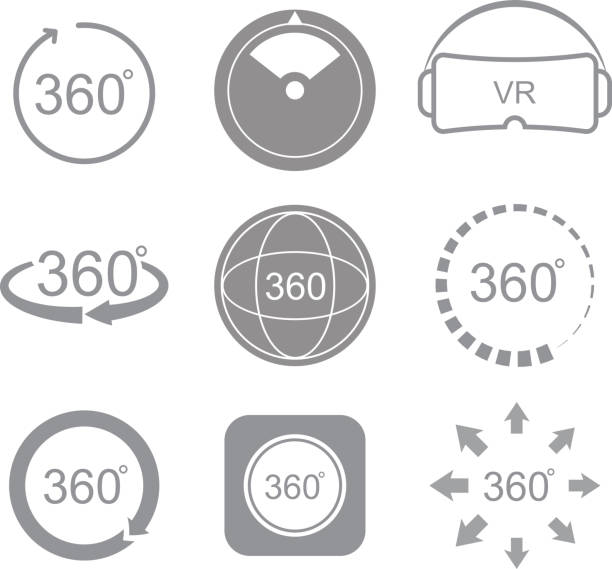 360 degrees view sign icon 360 degrees view sign icon on the white background nu stock illustrations