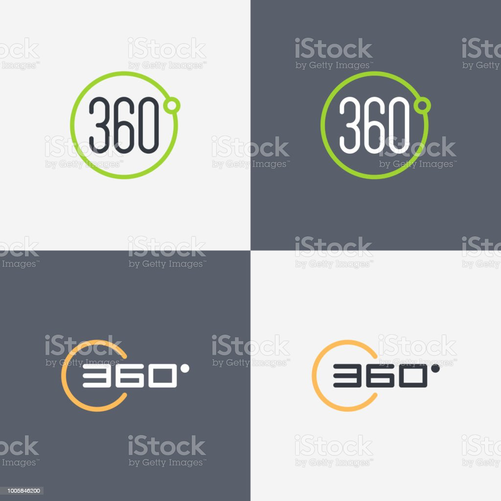 360 Degrees View Vector Icons For Virtual Reality Video And Panoramic  Images Stock Illustration - Download Image Now