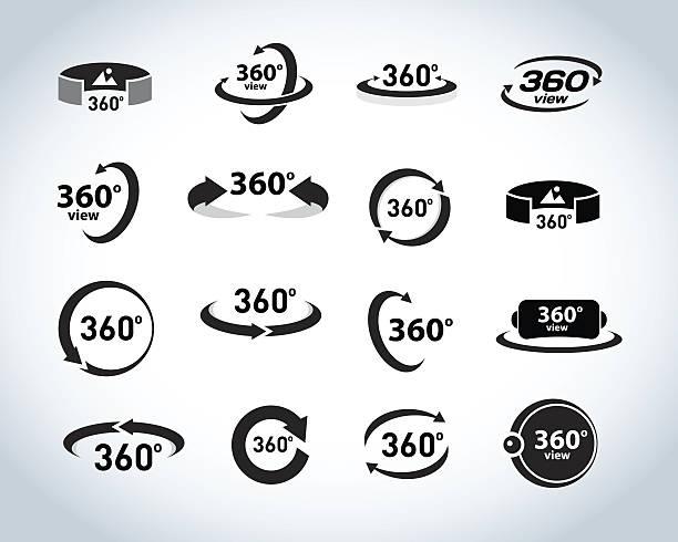 360 Degrees View Vector Icons set. Virtual reality icons. – Vektorgrafik