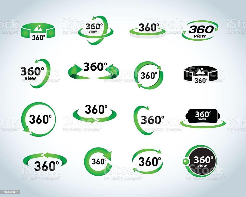 360 Degrees View Vector Icons set. Virtual reality icons. - ilustración de arte vectorial
