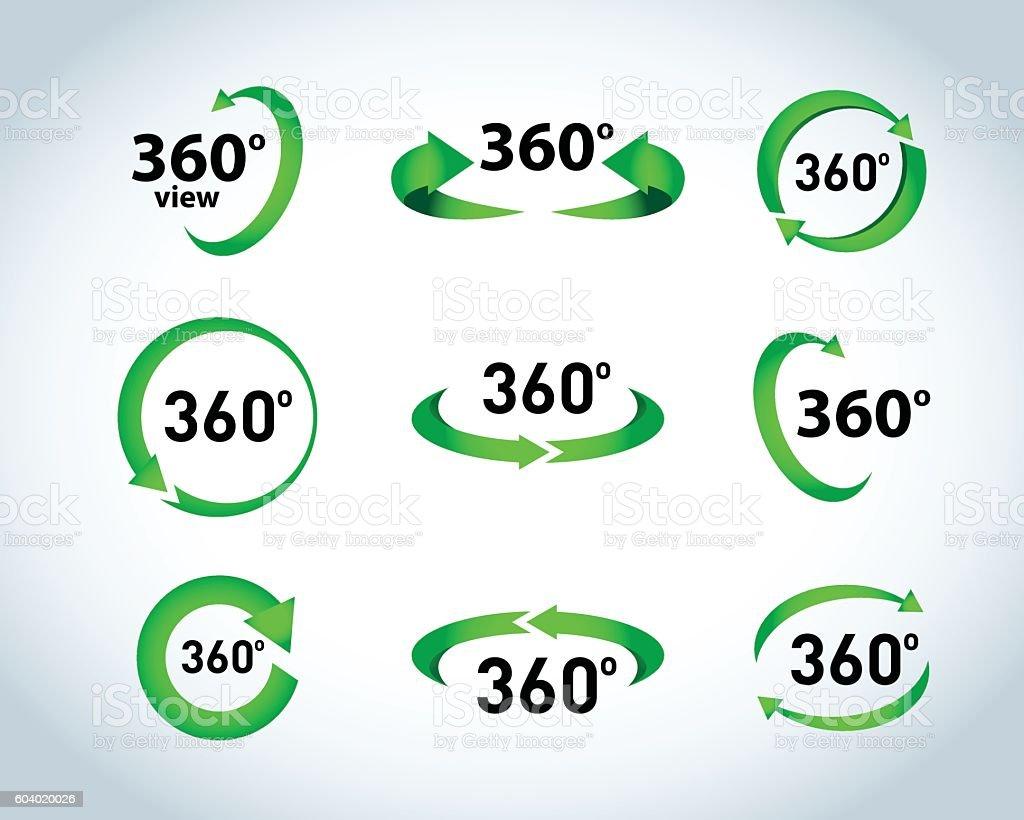 360 Degrees View Vector Icons – Vektorgrafik