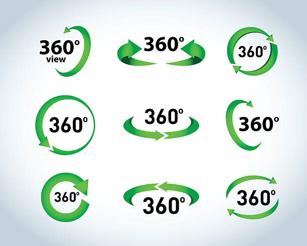 360 Degrees View Vector Icons vector art illustration