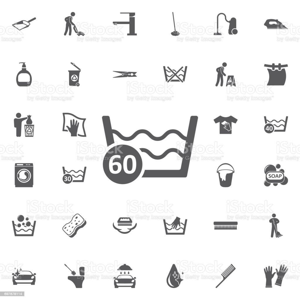 60 degrees washing laundry icon. vector art illustration