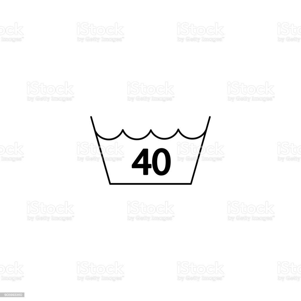 40 grad waschen w sche symbol liniensymbol schwarz auf wei stock vektor art und mehr bilder von. Black Bedroom Furniture Sets. Home Design Ideas