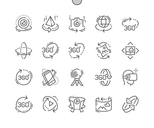ilustrações de stock, clip art, desenhos animados e ícones de 360 degrees well-crafted pixel perfect vector thin line icons 30 2x grid for web graphics and apps. simple minimal pictogram - turismo