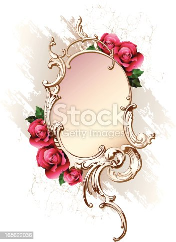 Decorative element in style of rococo with red roses.