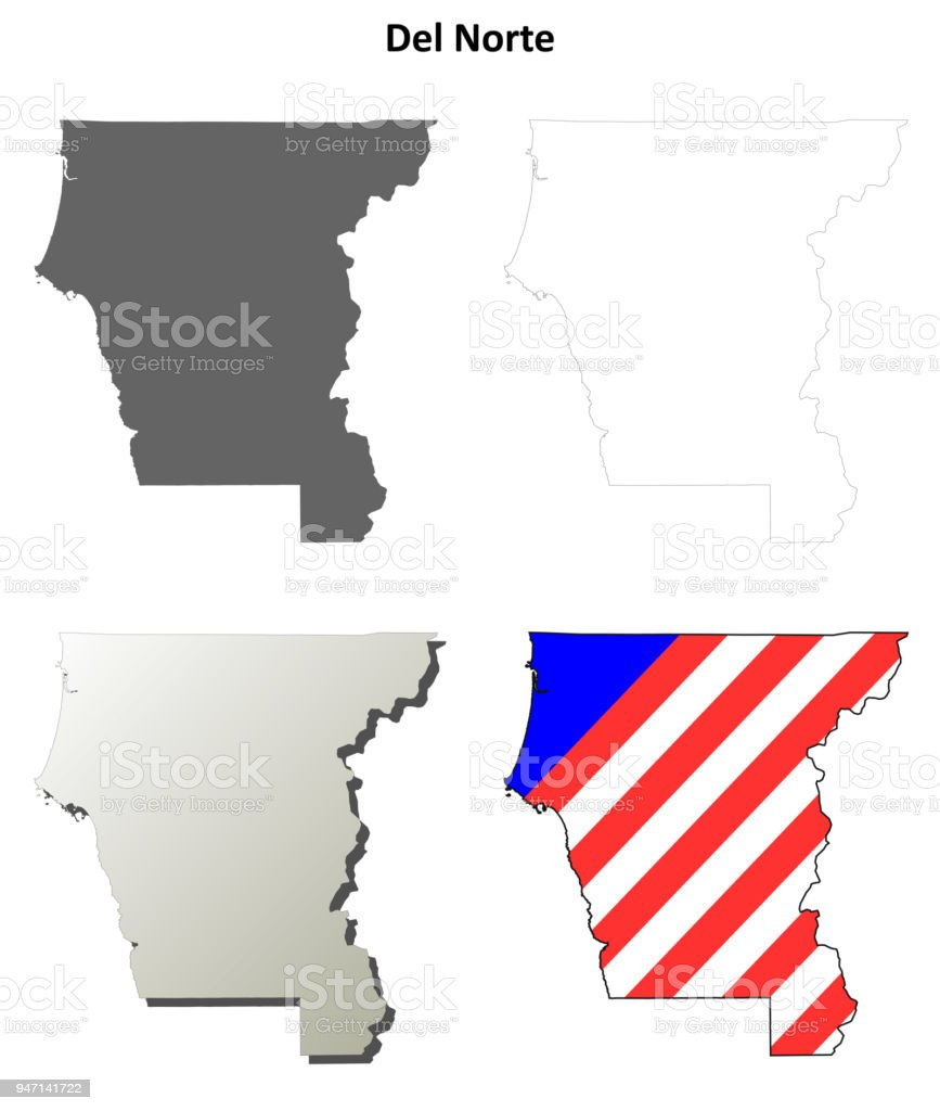 Del Norte County California Outline Map Set Royalty Free