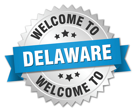 Delaware 3d silver badge with blue ribbon