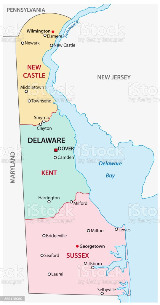 Delaware Administrative And Political Map Stock Vector Art - Delaware on us map