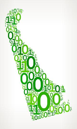 Delaware Binary Code Zero One Vector Icons Background