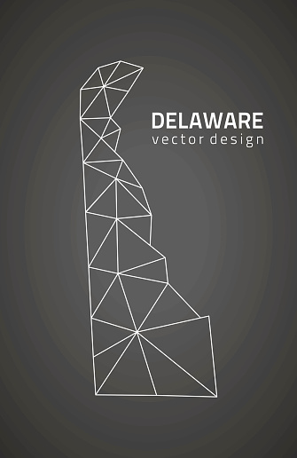 Delaware black vector polygonal map
