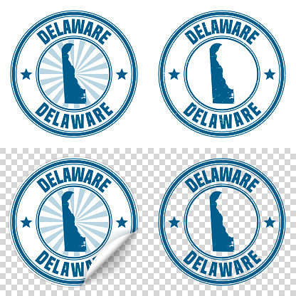 Delaware - Blue sticker and stamp with name and map