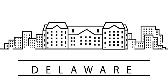 Delaware city line icon. Element of USA states illustration icons. Signs, symbols can be used for web, logo, mobile app, UI, UX