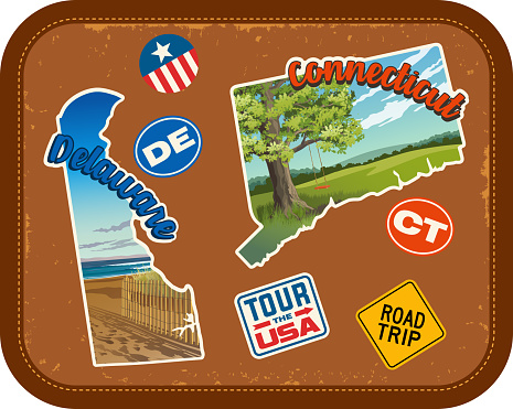 Delaware, Connecticut, travel stickers with scenic attractions and retro text on vintage suitcase background