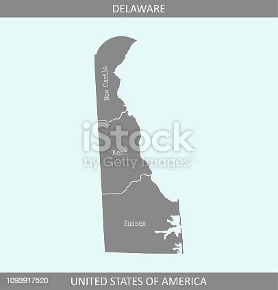istock Delaware county map vector outline gray background. Delaware map of Alaska state of USA in a creative design 1093917520