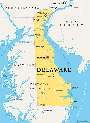 Delaware, DE, political map, The First State
