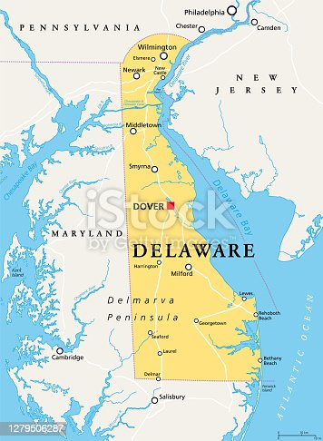 istock Delaware, DE, political map, The First State 1279506287