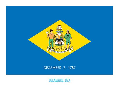 Delaware Flag Vector Illustration on White Background. USA State Flag