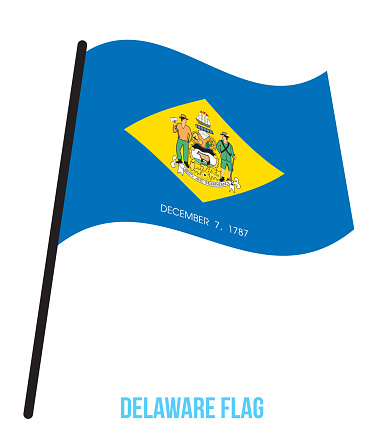 Delaware (U.S. State) Flag Waving Vector Illustration on White Background. Flag of the United States of America.
