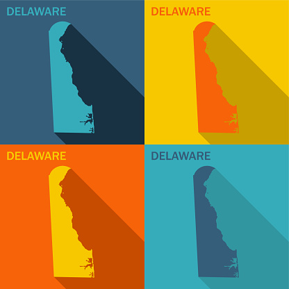 Delaware flat map available in four colors