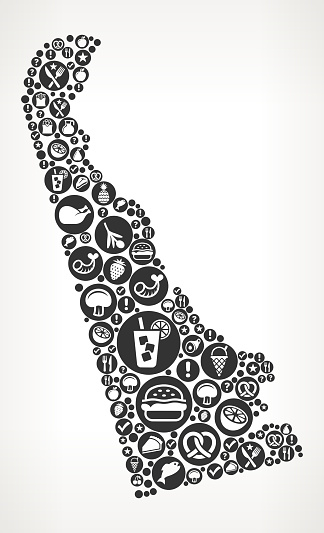 Delaware Food Black and White Icon Background