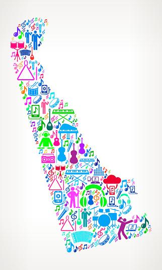 Delaware Fun Adventure Travel Vector Icons Background