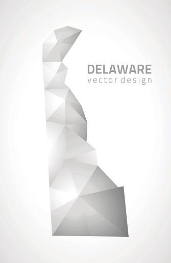 Delaware grey polygonal 3d vector mosaic triangle modern map