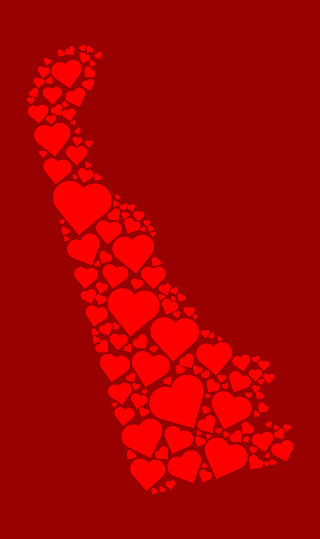 Delaware Icon with Red Hearts Love Pattern