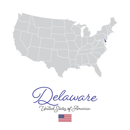 Delaware in the USA Vector Map Illustration